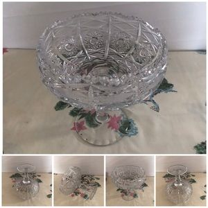Vintage absolutely PURE CRYSTAL footed candy dish.